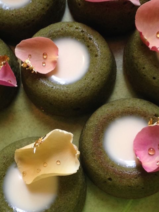 Matcha and rose financiers