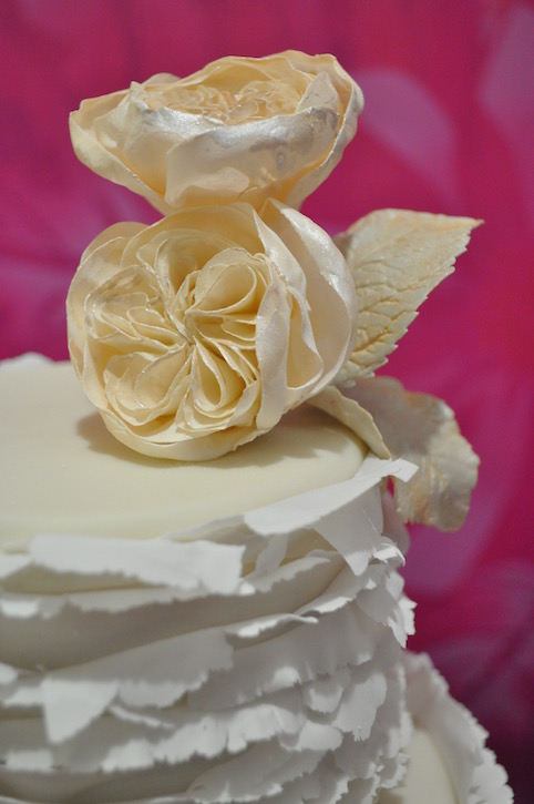 """Torn paper"" sage ombré & garden rose wedding cake"