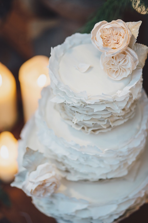 """Torn paper"" ruffles wedding cake"
