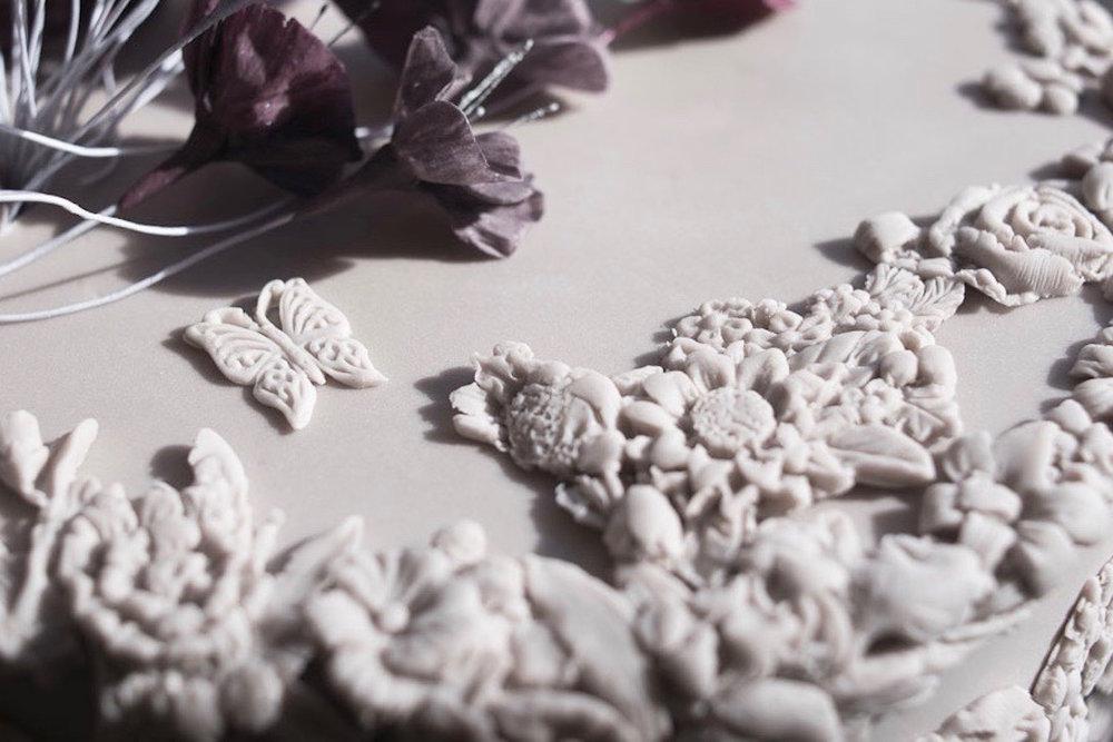 Mauve blossom wedding cake