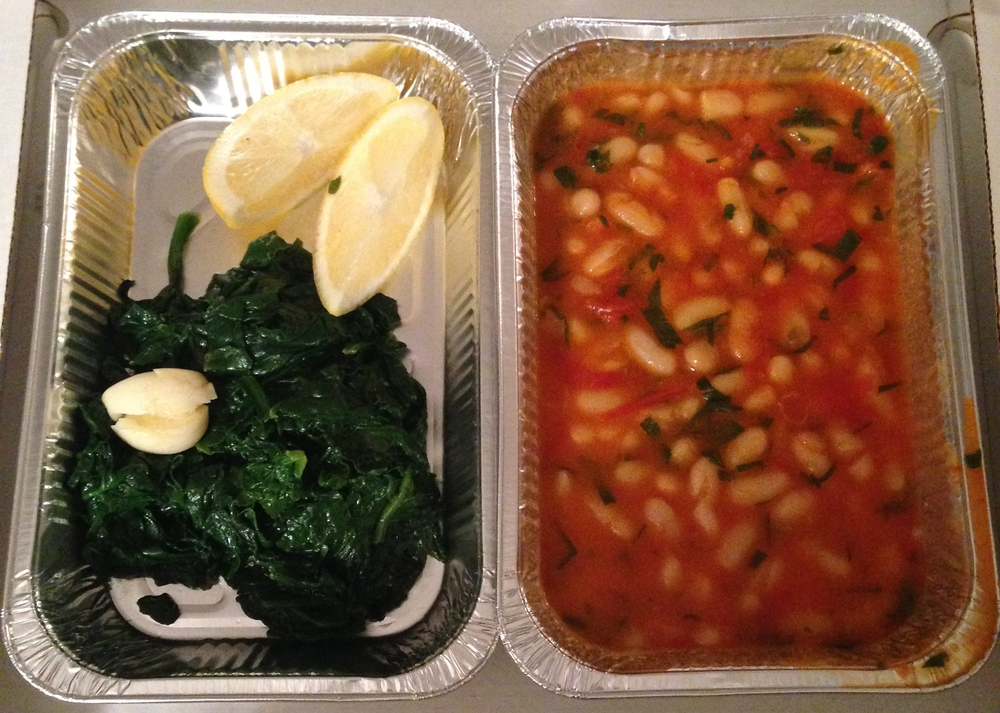 Vegan takeaway Positano - beans and spinach