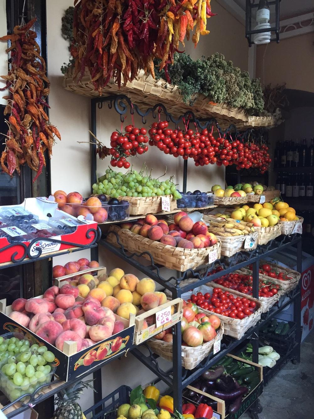 Vegan grocery shopping in Positano, Italy