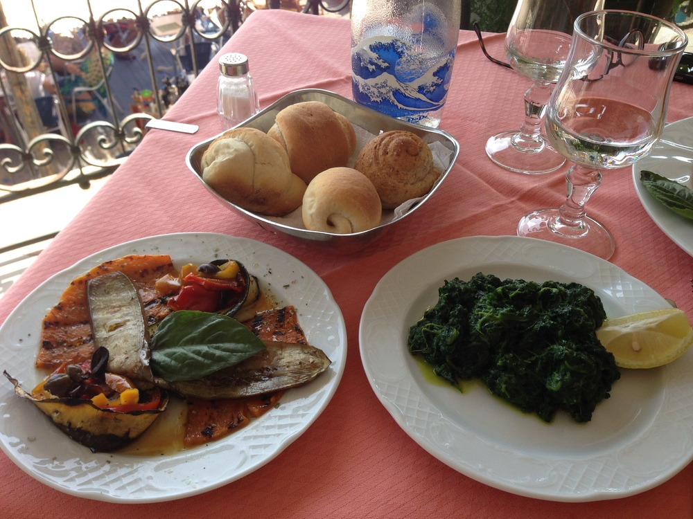 Vegan food at Pupetto Cafe, Positano, Italy