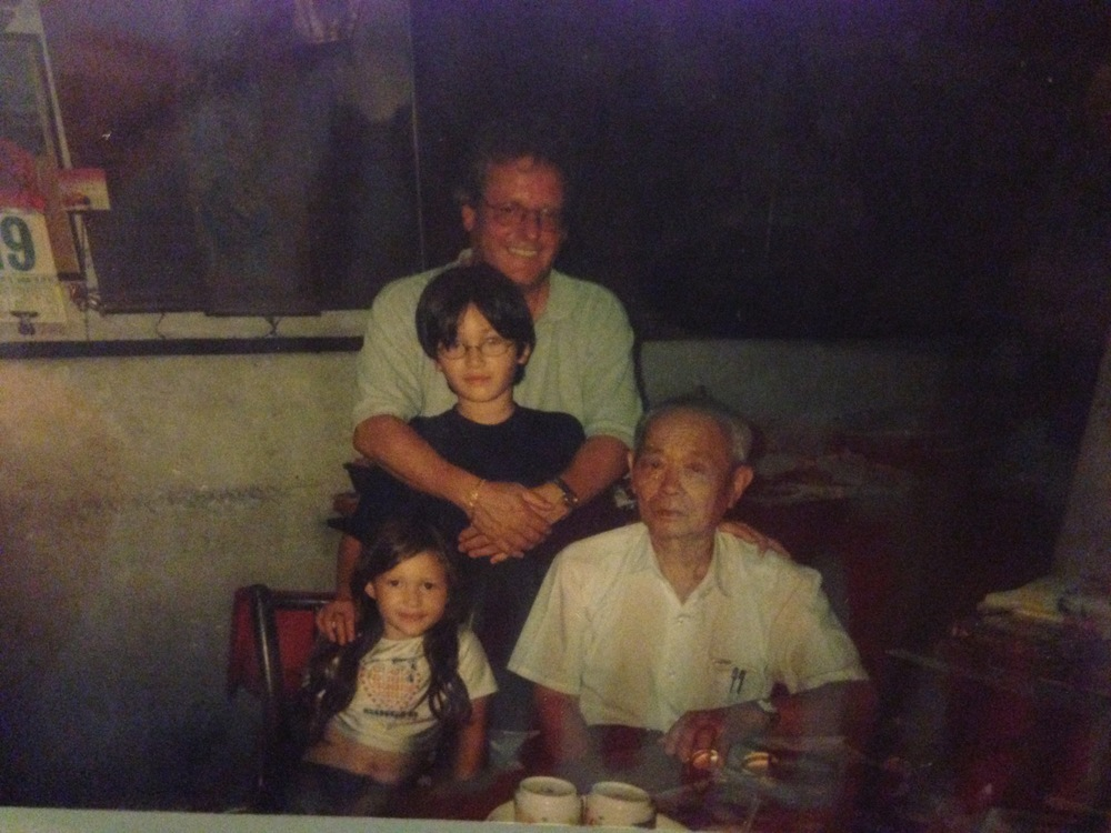 Dad, my brother, Ah Kong (mum's dad) and me in Muar. I'm wearing my lycra Union Jack Spice Girls crop top and I wish I could still fit into it now
