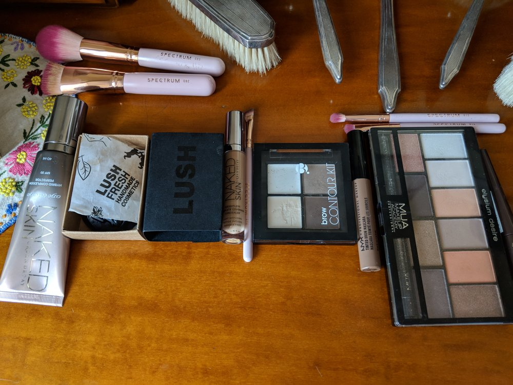 Some of the makeup on my wedding dressing table in Mas Peyloubet, Grasse