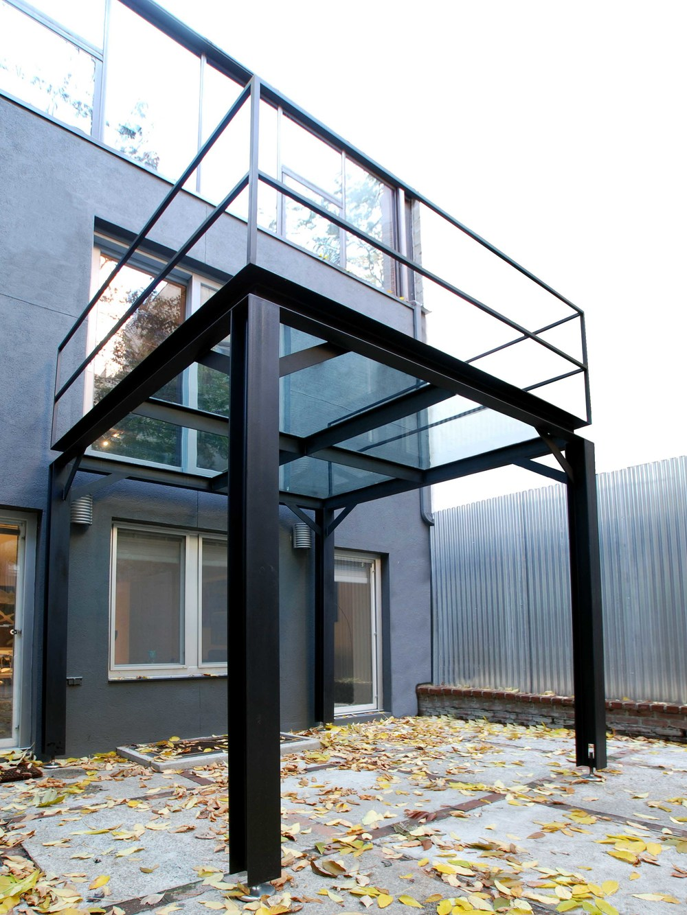 Steel glass balcony custom metal fabrication in for Metal balcony