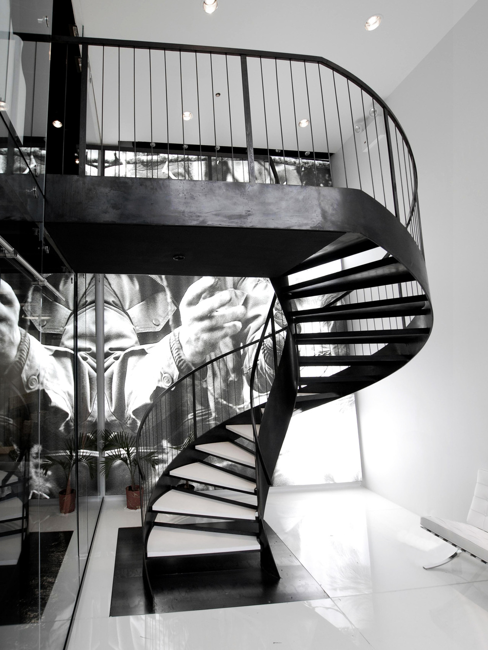 Blackened Steel Helix Staircase