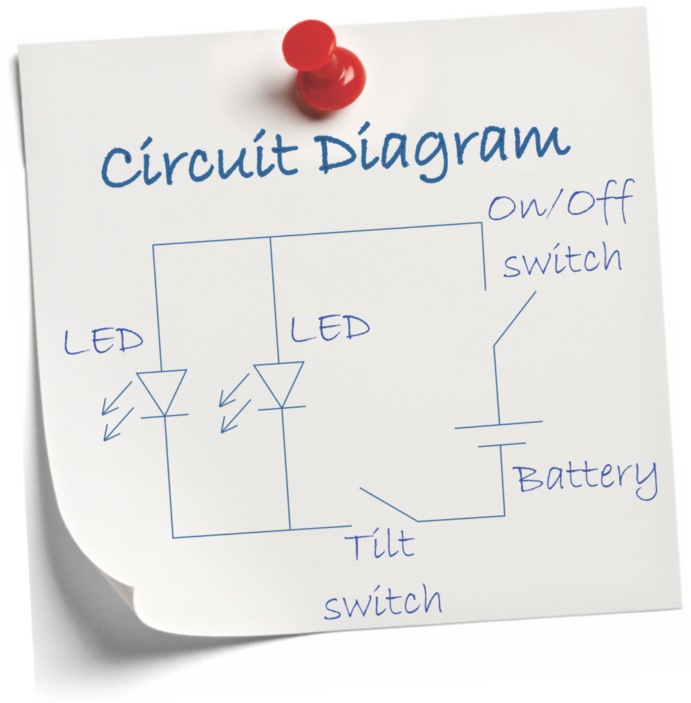 Light Up Sock Puppet Lectrify Led Lights Circuit Diagram The Resulting Has Both Leds In Parallel As It Board But Note That Tilt Switch Controls This Whereas On