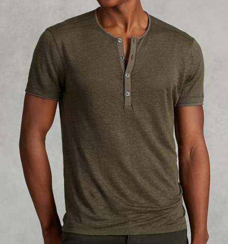 John Varvatos Jersey Trim Short Sleeve Henley