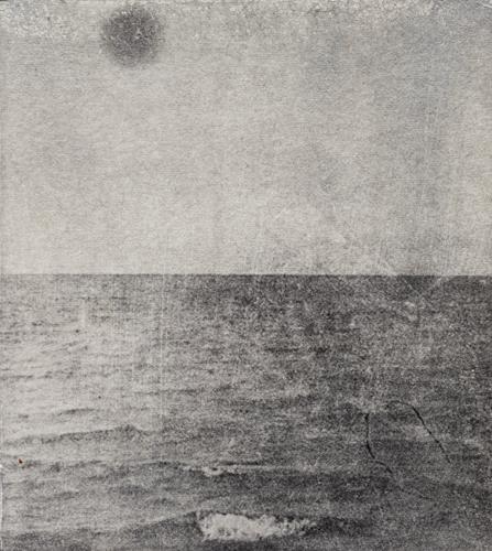 "Lake Hofoavatn/Black Sun, 2014 photopolymer intaglio plate size: 5 ½"" x 4 ¾"""