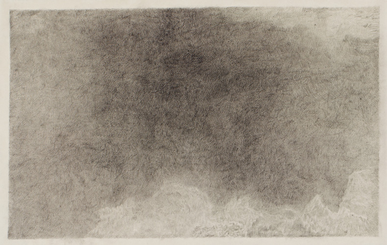 "Breath Drawing #1,  2013 pencil on paper 25"" x 39"""