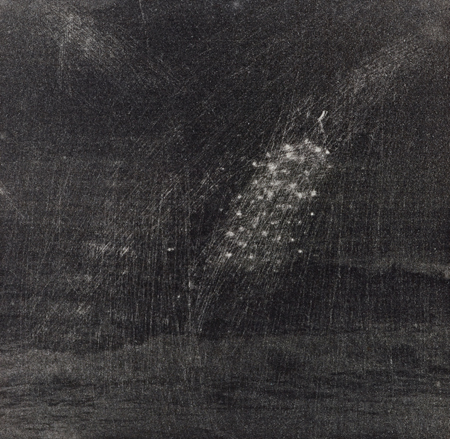 "Sea at Vik/Middle Burst,  2014 photopolymer intaglio 5"" x 5"""