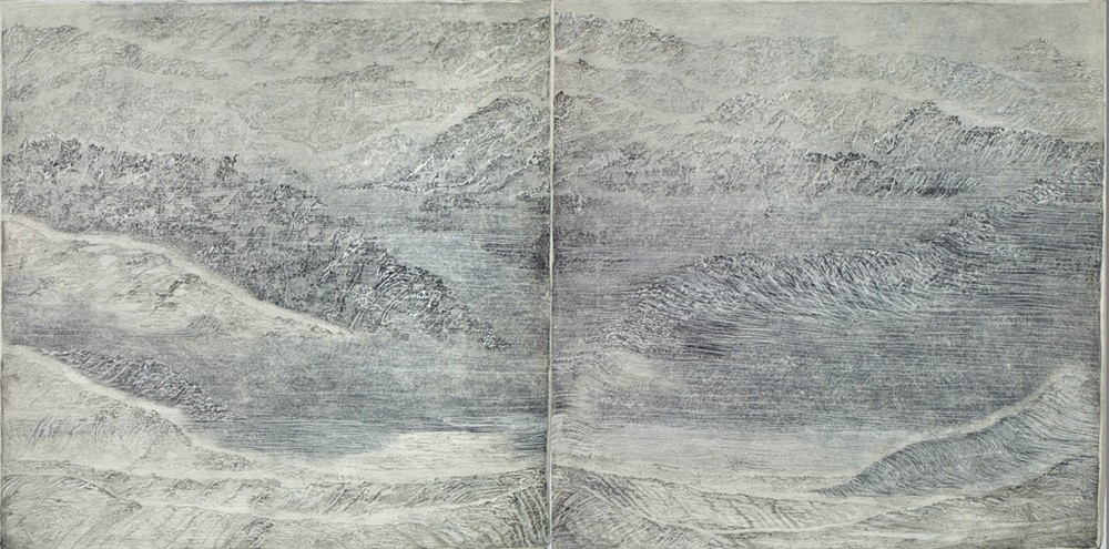 "Sea State Diptych,  2011 pencil, pastel, charcoal on paper 79"" x 158"""