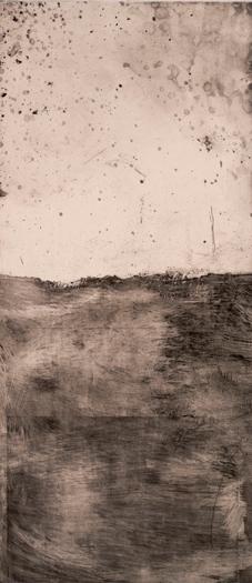 "Landscape, 2008 etching plate size: 20"" x 9"""