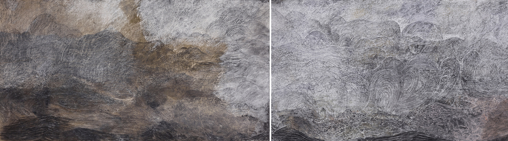 "Sea at Vik Diptych, 2013 stains, charcoal, pastel, and pencil on paper 38"" x 144"" overall"
