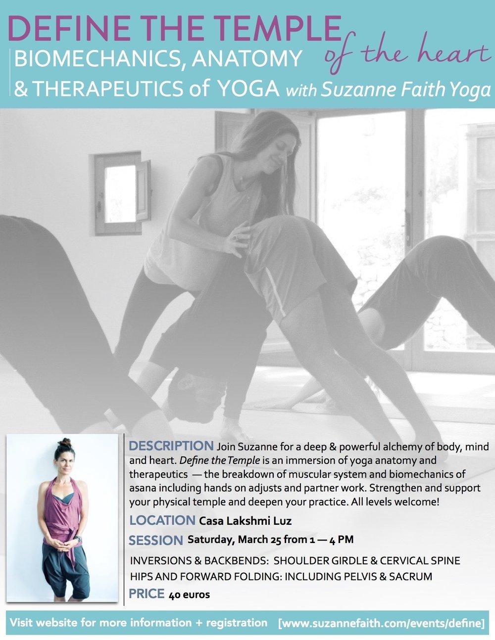 Workshop: Define the Temple Part, Ibiza — Suzanne Faith Yoga