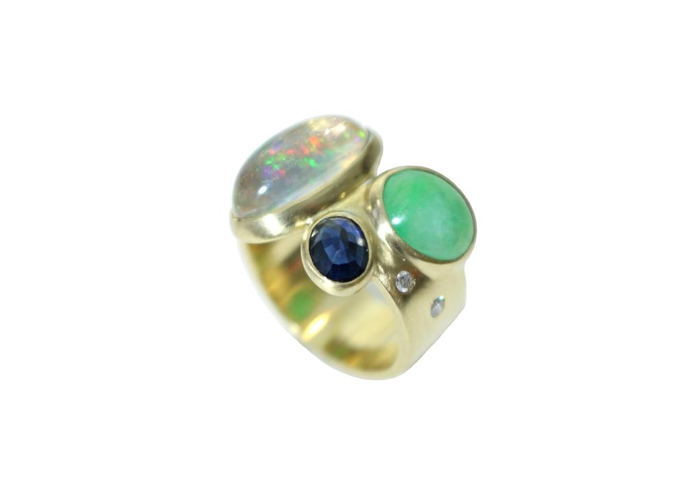 Ring for JM  Stones from client's grand father's several tie pins were put together into a ring.  18k, opal, sapphire, jade, diamonds 2014