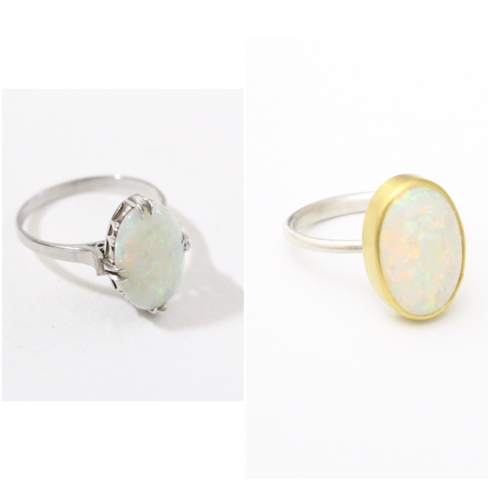 Ring with opal for MY  The ring belonged to her grand mother from 50s in Japan.  before + after (gold, silver, opal) 2014