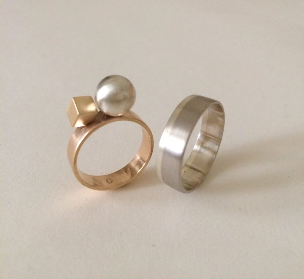 Wedding rings for H & Y 2016  (right) Rose gold, silver, bronze for her   (left) Platinum, palladium, silver for him