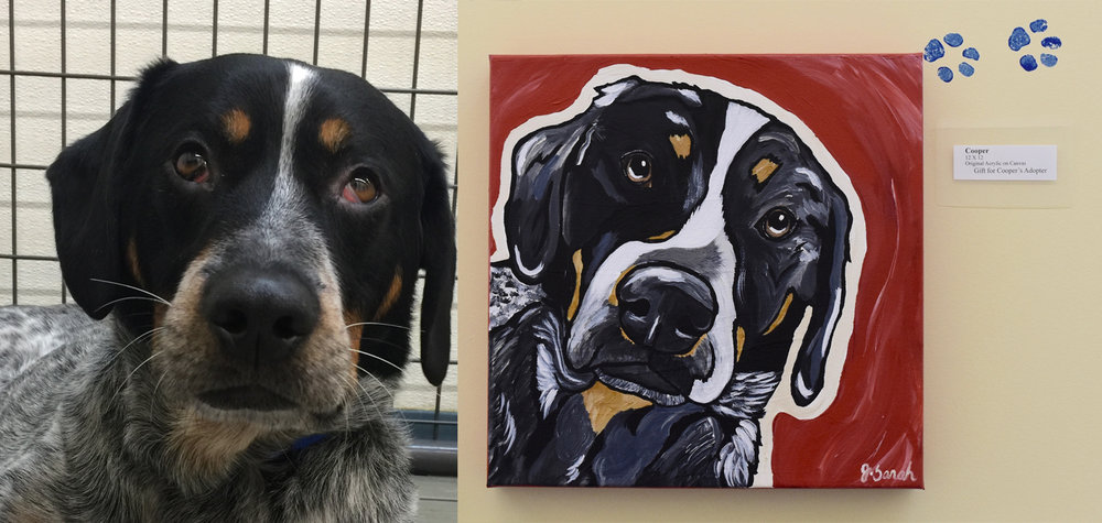 Cooper and the painting that will go home with his adopter as a gift.