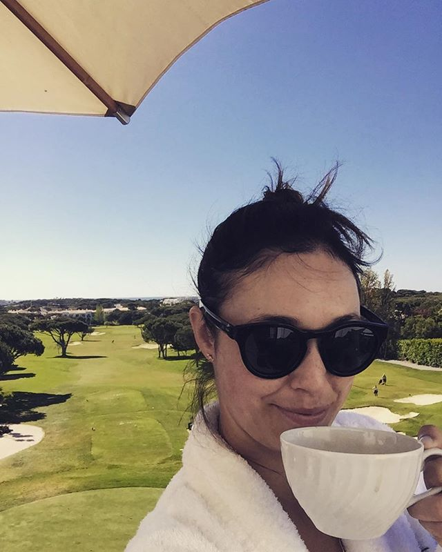 Coffee in fluffy bathrobe on the veranda while husband tees off in the distance. Teenage me wants to know where the hell it all went wrong. Current me knows this is where it's at. #boutthatlife
