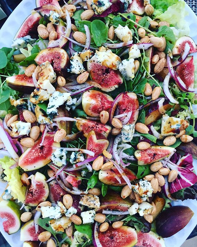 "Sometimes dining in   going out, so last night we threw together a simple meal after the beach but before sunset. Let's call this one ""vacation salad""—it has bitter greens (radicchio, endive and watercress), super ripe figs and red plums, slivered red onion, toasted spanish almonds (these were smaller and more floral than their californian cousins), dotted with some french bleu d'auvergne, drizzled with local olive oil and aged balsamic. Just add 🍷+🌅. #AGPDtravels . . . . . #bareaders #saveurmag #goopmake #pursuepretty #inspiremyinstagram #f52grams #eattheworld #foodwinewomen #visitportugal #theartofslowliving #foodandwine #tastemade #eatincolor #sundowner #gatheringslikethese #testkitchen #farmersmarketinspo #fromabove #cheflife #beautifulcuisines #rslove #verilymoment #lifeincolor #howiholiday #aperohour #howisummer #privatechef"