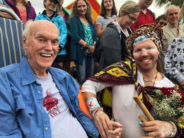 John & Ram Dass in Maui last year after the 10th anniversary of 'open your heart in paradise retreat'.
