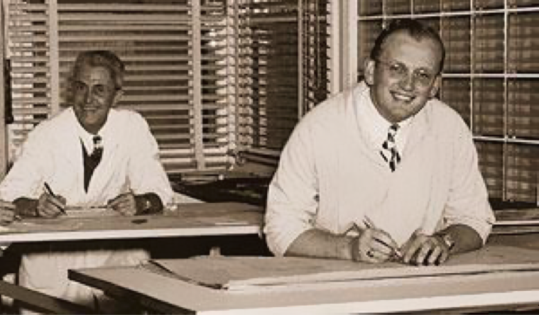 Chester Dolphin (left) and Ed Hageman (right) in the drafting room inside the Doelger Building, circa 1937.   Source: Daly City Public Library Photo Collection.