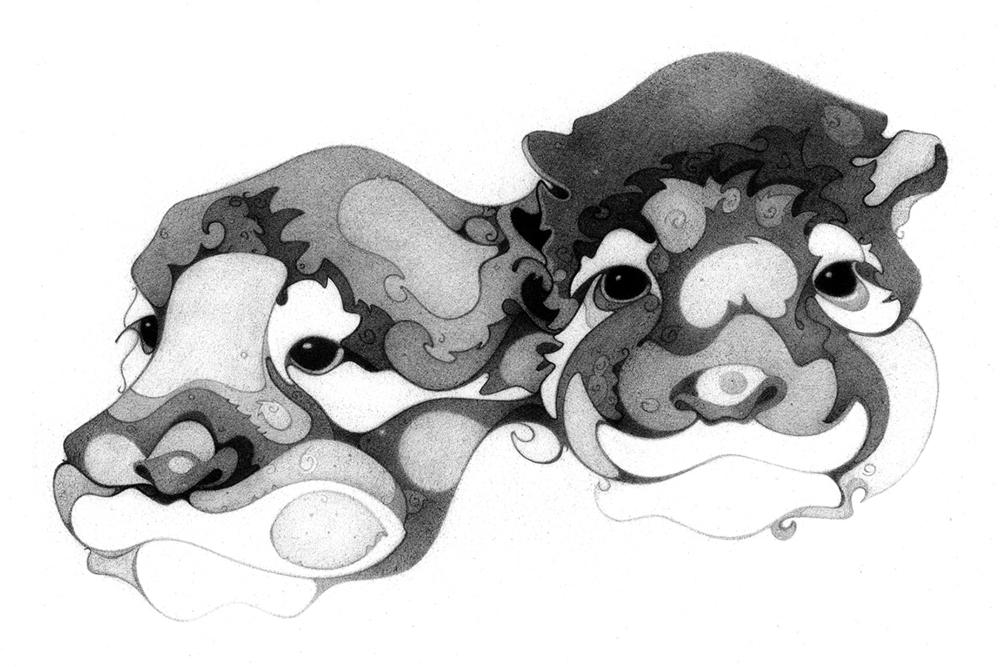 Block Head Series Otters1, Intaglio Print, copyrighted by Kathleen Zimmerman