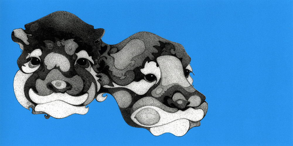 Block Head Series - Otters, serigraph, printed at Modern Multiples, artwork and copyright by Kathleen Zimmerman