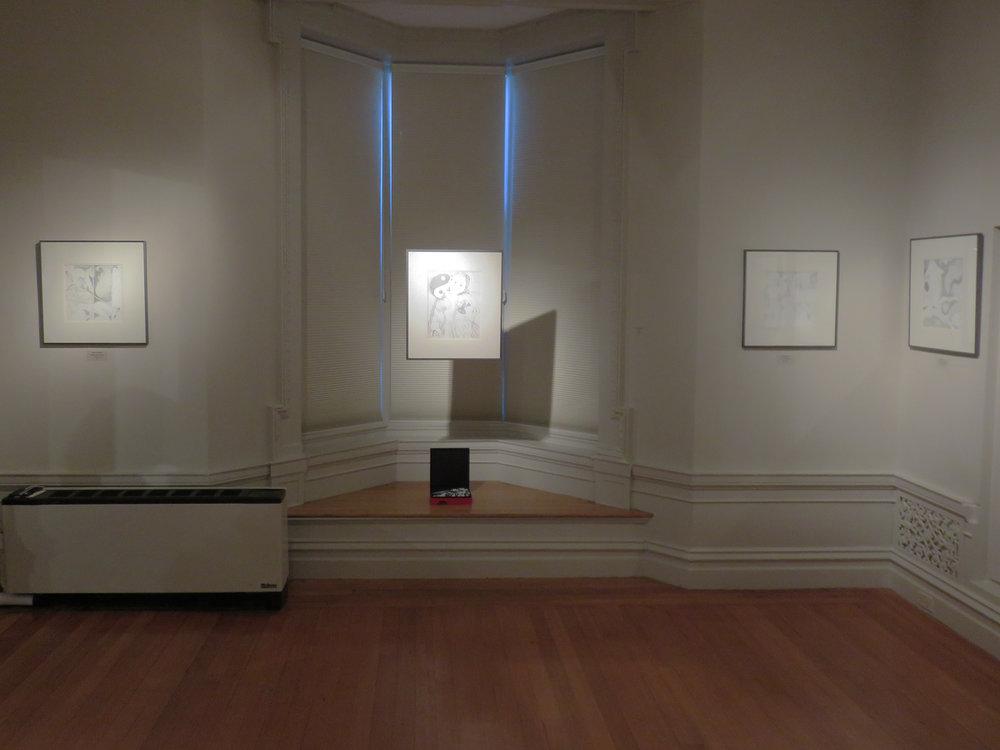 Installation of Kathleen Zimmerman's graphite drawings at Alexey von Schlippe Gallery