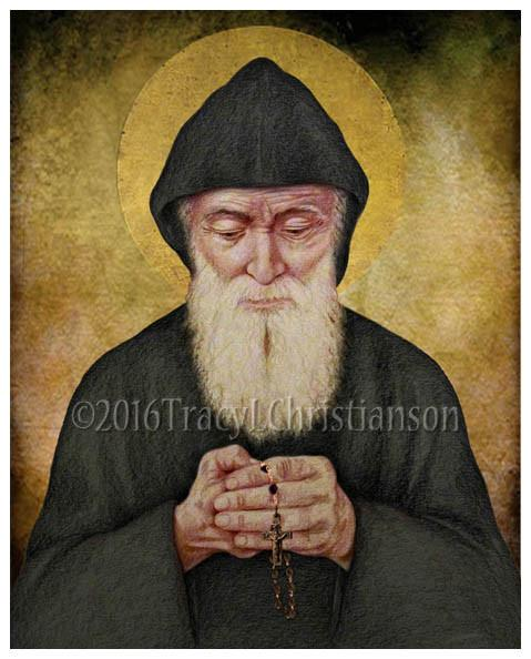 Saint Charbel Makhlouf 1828-1898 Feast day: July 24 - Saint Charbel, born in a small village in Lebanon, to a poor religious family, entered the Maronite Monastery of St. Maroun, (A Lebanese Maronite order) at 23 and was ordained a priest in1859. He served there for 16 years, then retired to the hermitage of Sts. Peter and Paul. Charbel lived a severe ascetic life of prayer, mortification and self-denial and had a remarkable devotion to the Eucharist. He had a massive stroke while saying Mass on Christmas Eve and died 7 days later. For 45 days a bright light surrounded his tomb. The monks exhumed his body and it was found incorrupt. For approximately 62 years a viscous liquid came from his body. Many miracles are attributed to his intercession.