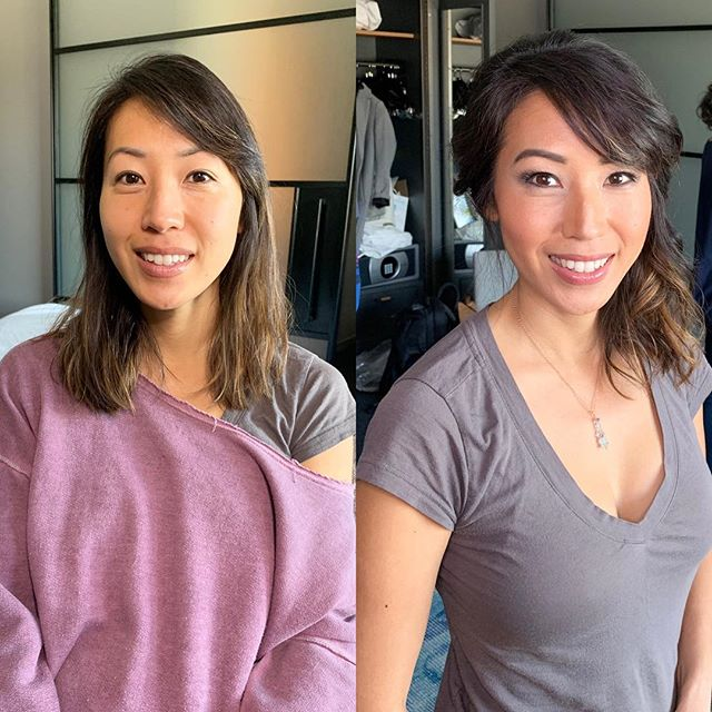Had a great time working on Anabel's #bridesmaids today.  Here's her sister Jane! #beforeandafter #hairandmakeup @minstylist #e2beauty