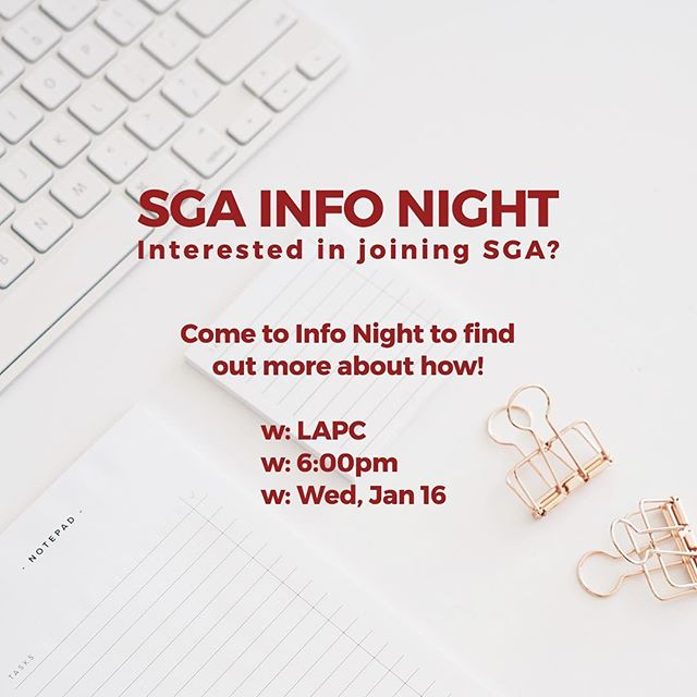 Are you interested in joining SGA this Fall? Come to our Info Night next Wednesday, January 16th at 6pm in the LAPC. We'd love to talk with you about getting involved. See you there! — #apusga #studentgovernment #studentleaders #brickandblack #iheartapu