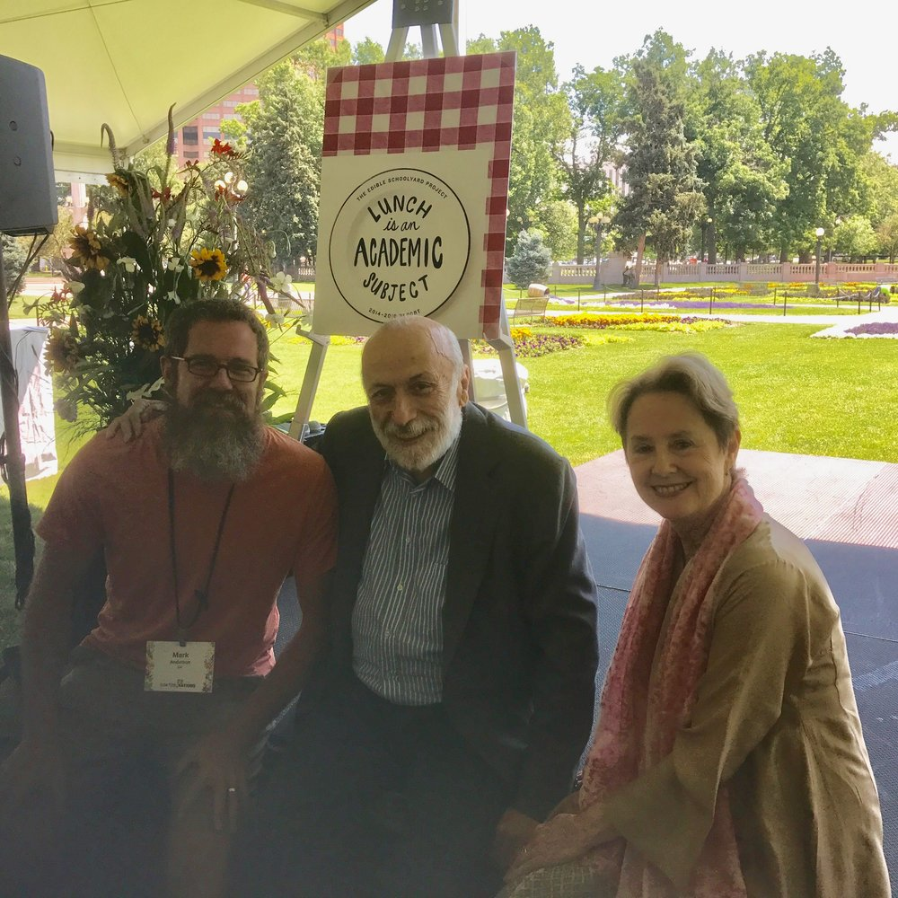A pre-lunch photo opp with two Slow Food legends (Carlo Petrini and Alice Waters).