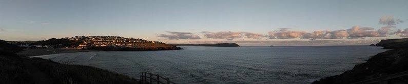 Panoramic view of Polzeath Beath, 6:30am