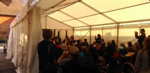 The performance tent and audience at the Pilgrim Harps Open Day