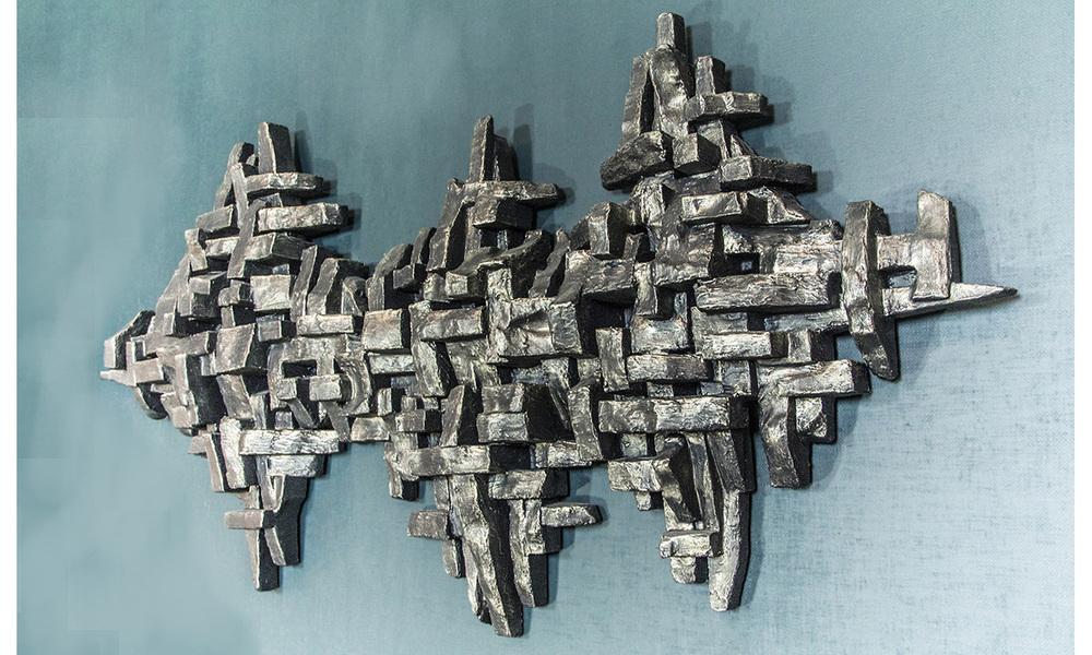 """CRUSTACEA III,  mixed media, 96"""" x 48"""" x 10"""", 2015"""
