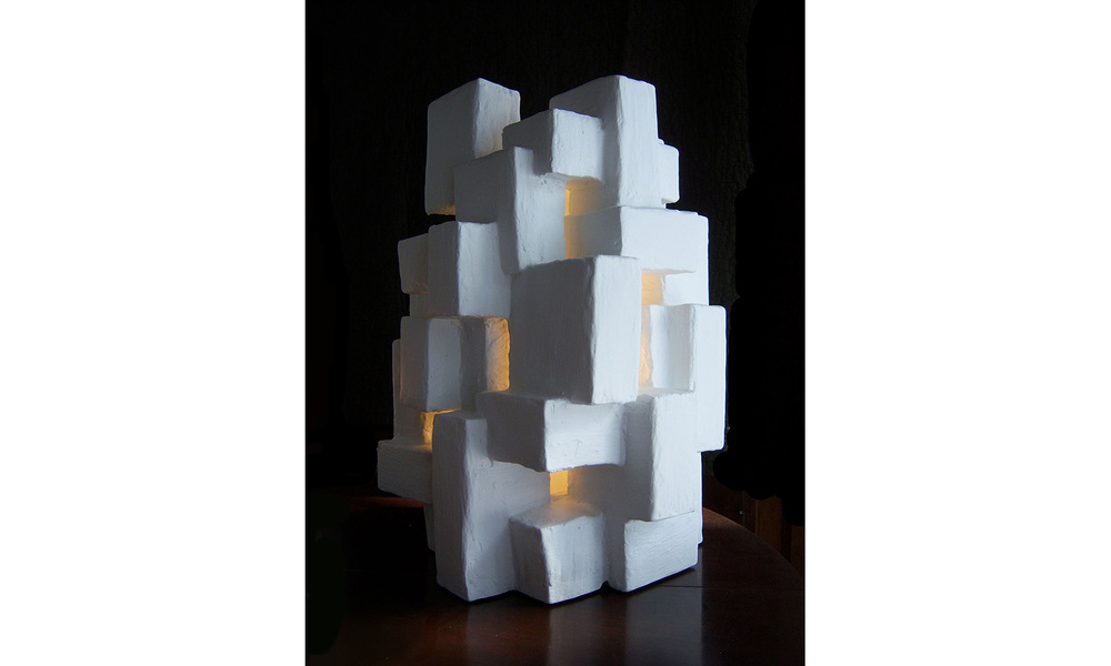"GOTHAM LIGHT SCULPTURE I, mixed media, 17"" x 12"" x 12"", 2012"