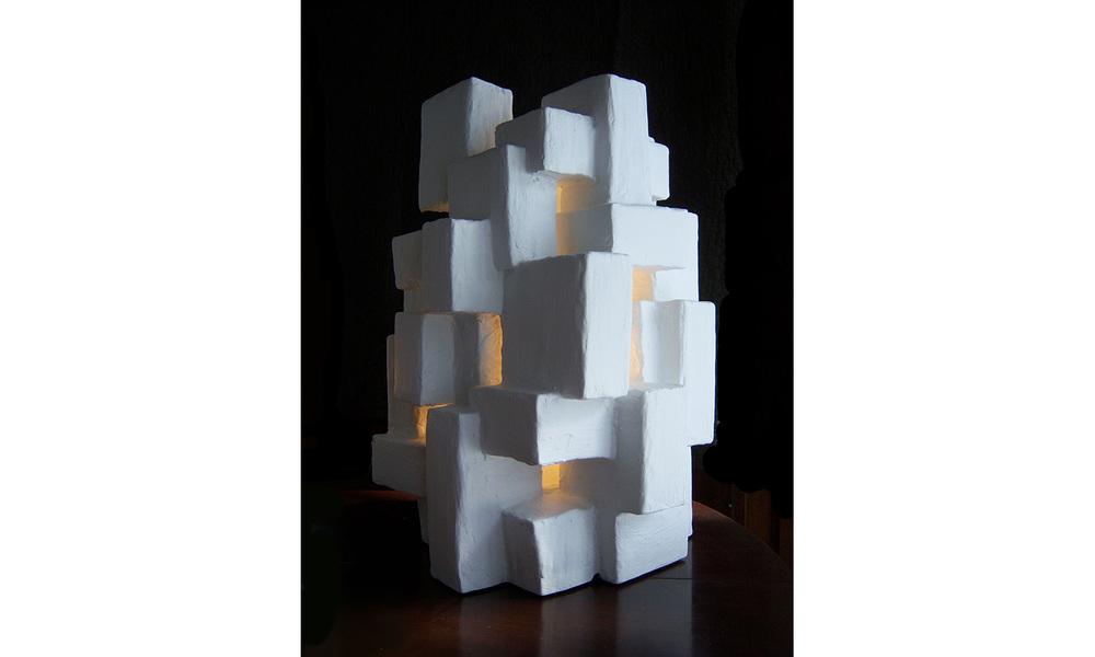"""GOTHAM LIGHT SCULPTURE I, mixed media, 17"""" x 12"""" x 12"""", 2012"""