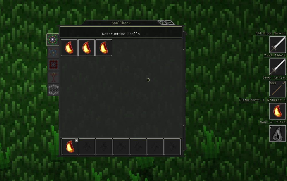 The Spellbook UI (left) with the equipment HUD (right)