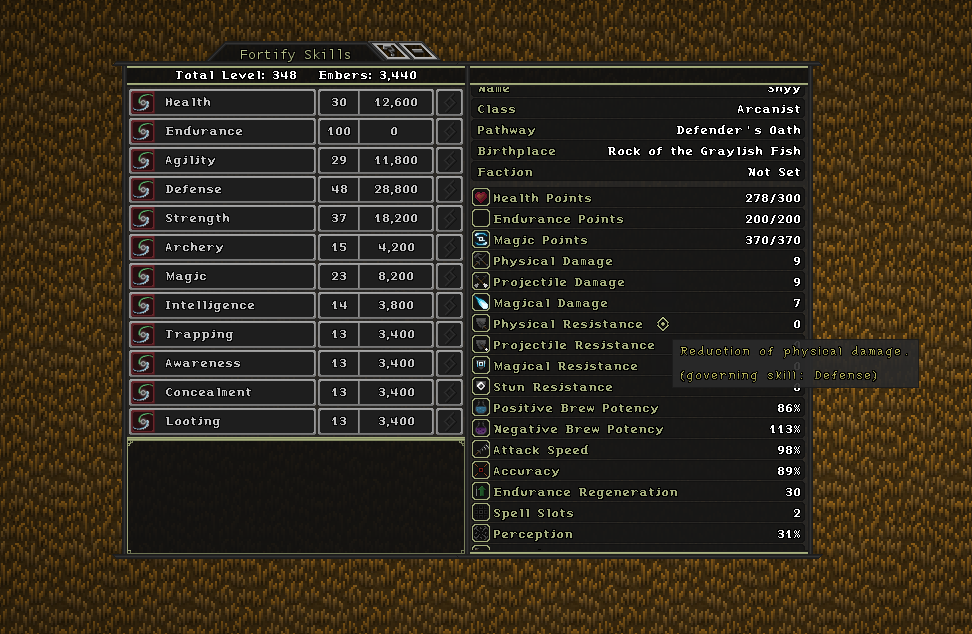 The skill and stats user interface.