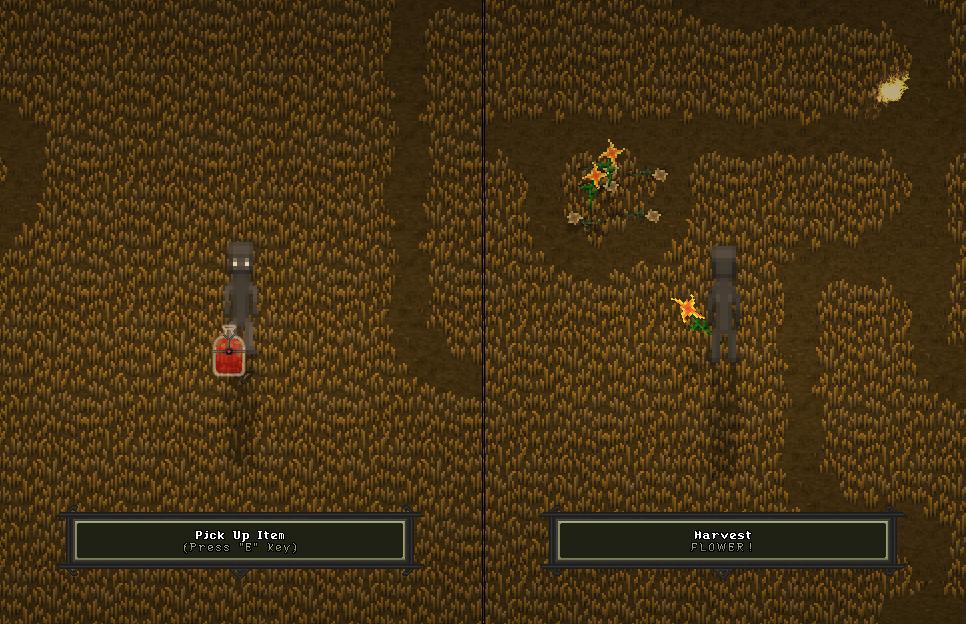 Item Activation (left), Flora Harvesting (right)