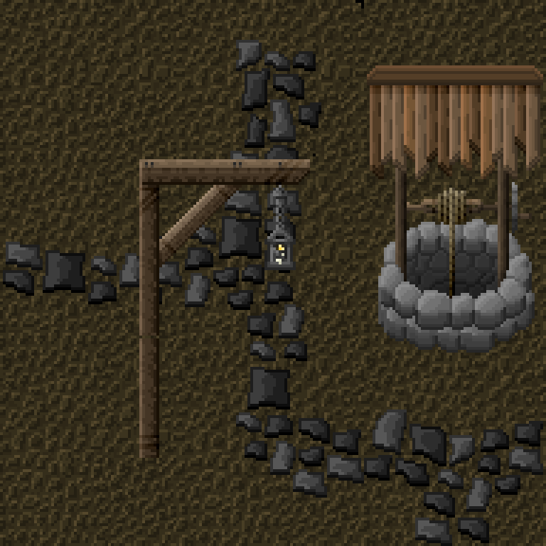 Improved dirt, stone pathways, lantern post, and a well.