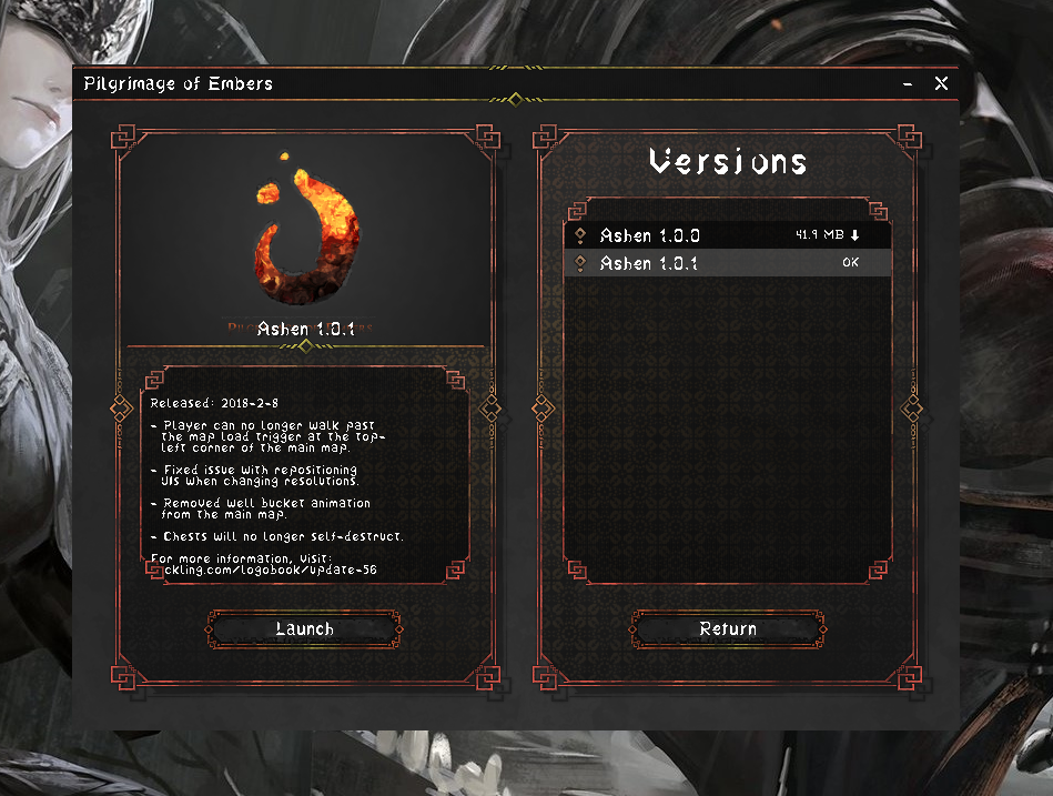 The Item screen, showing Pilgrimage of Embers.