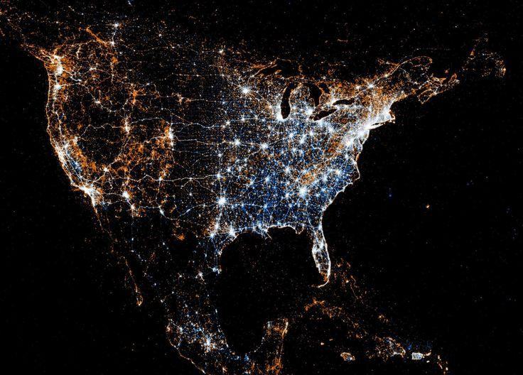 Night Satellite Photos Earth US Europe World Geologycom Earth Map - Us night map