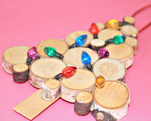 Homemade Sliced Birch Wood Christmas Tree Ornament -MIY with Melissa