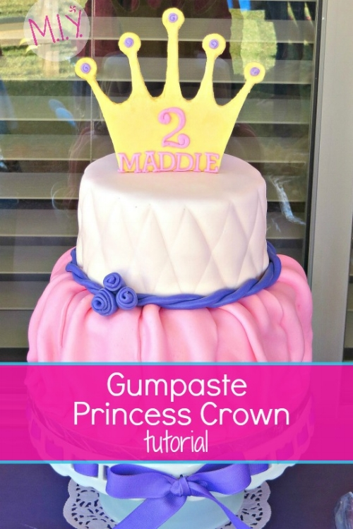 Fondant Princess Cake with Gumpaste Crown Topper -MIY with Melissa