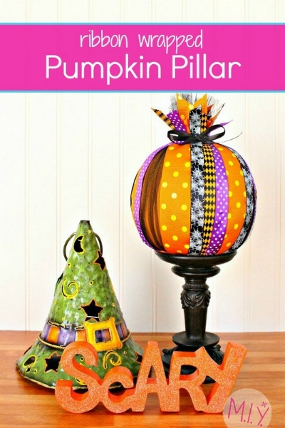 Easy Halloween Ribbon Wrapped Pumpkins Tutorial -MIY with Melissa