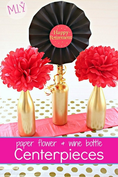 Easy, Up-cycled Retirement Party Centerpieces for Mom -MIY with Melissa
